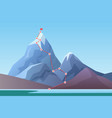 mountain climbing route to peak business progress vector image vector image