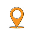 orange map pin icon isolated on white background
