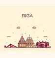 riga skyline latvia trendy a vector image vector image