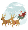 santa claus riding on sled with reindeers xmas vector image