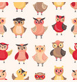 Seamless pattern with adorable owls on white