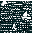 seamless pattern with waves and ship vector image vector image