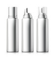 set - 3d realistic silver foam bottles vector image