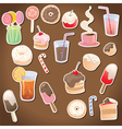 set dessert and drinks vector image vector image
