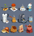 set of isometric coffee icons stickers vector image