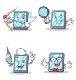 set of tablet character with cupid detective nurse vector image vector image