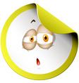 Sleepy face on round sticker vector image