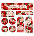 spring season sale tag and label with rose flower vector image