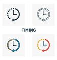 timing icon set four elements in diferent styles vector image