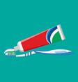 toothbrush toothpaste brushing teeth vector image