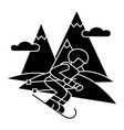 travel winter skier skiing high mountains ico vector image