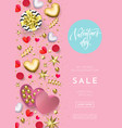 valentines day sale web banner background of vector image vector image