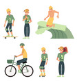 various summer active recreations set with young vector image