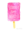 Watercolor ice cream poster with Summer girls vector image vector image