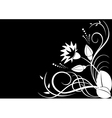 white flora on black background vector image vector image