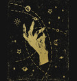 witchs hand with cosmos gold on black textured vector image