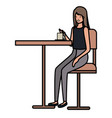 woman drinking coffee in dining room vector image vector image