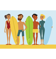 Young surfers vector image