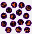 grunge Halloween icons vector image