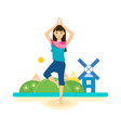 summer girl is engaged in yoga and meditation vector image