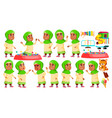 arab muslim girl kindergarten kid poses set vector image