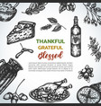 background collection of hand drawn thanksgiving vector image vector image