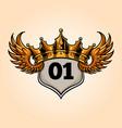 badge king flying crown vector image vector image