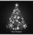 christmas fir tree made from white snowflakes on vector image vector image