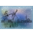 Christmas Street Performers in a Snowy City vector image vector image