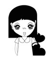contour pretty girl with hearts in the hand and vector image vector image