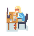 cute girl pc monitor programmer table chair vector image vector image