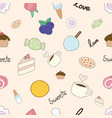 cute hand draw doodle food bakery cake coffee vector image