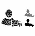 delivery mosaic icon trembly items vector image vector image