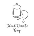 doodle blood donor day hand draw vector image
