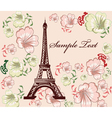 eiffel tower with floral vector image vector image