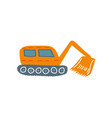 excavator heavy industrial construction machinery vector image vector image