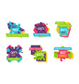 exclusive products huge sale bright logotypes set vector image vector image