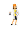 female chemical engineer character working on oil vector image vector image