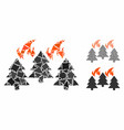 forest fire disaster mosaic icon inequal pieces vector image vector image