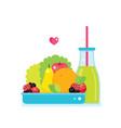 fresh vegetables greens fruits bowl and bottle of vector image