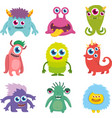 funny cute little monster set vector image