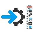 Gear Integration Icon With Free Bonus vector image vector image