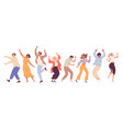 group young happy dancing people dancing vector image