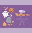 happy halloween cute ghost creepy eye tombstone vector image vector image