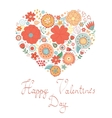Happy Valentines day card with floral heart vector image