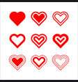 hearts set love symbol template design vector image