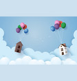 house hanging with colorful balloon vector image