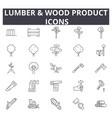 lumber wood production line icons for web and vector image vector image