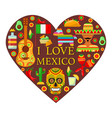 mexican attributes in shape of heart vector image