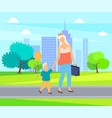 mother and child cartoon people walk in city park vector image vector image